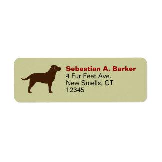 Labrador retriever (chocolate) etiqueta de remite