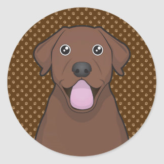 Labrador Retriever (Chocolate Lab) Cartoon Paws Classic Round Sticker
