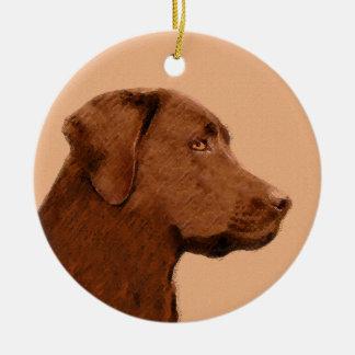 Labrador Retriever (Chocolate) Painting - Dog Art Ceramic Ornament