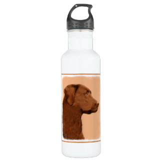 Labrador Retriever (Chocolate) Painting - Dog Art Stainless Steel Water Bottle