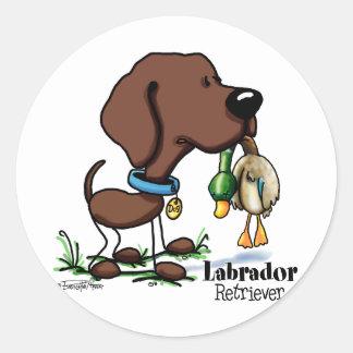 Labrador retriever - chocolate pegatina redonda