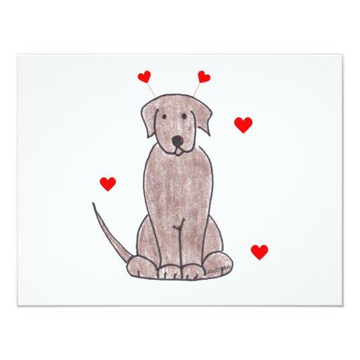 Labrador Retriever Chocolate Valentine Ears Card