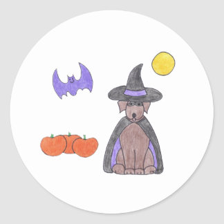 Labrador Retriever Chocolate Witch Sticker