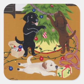 Labrador Retriever Christmas Tree Square Sticker