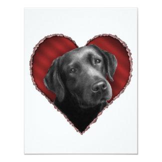 """Labrador retriever con el corazón invitación 4.25"""" x 5.5"""""""