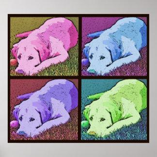 Labrador retriever del amarillo del patio del arte póster