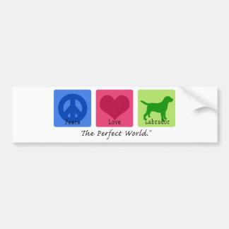 Labrador retriever del amor de la paz etiqueta de parachoque