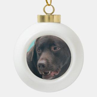 Labrador retriever del chocolate adorno de cerámica en forma de bola