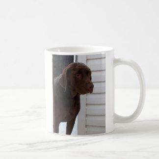 Labrador retriever del chocolate taza clásica
