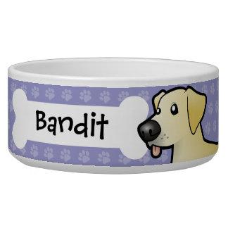 Labrador retriever del dibujo animado comedero para mascota
