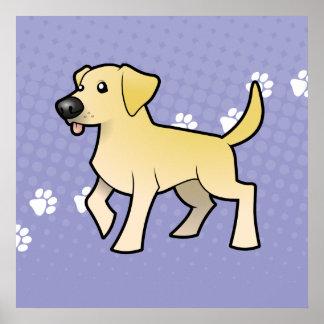 Labrador retriever del dibujo animado póster