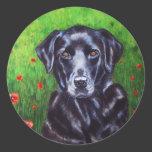 Labrador Retriever Dog Art - Poppy Classic Round Sticker