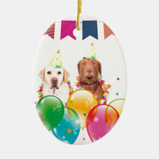 Labrador Retriever Dog Balloons Birthday Ceramic Ornament