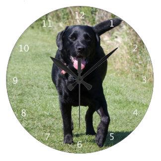 Labrador Retriever dog black beautiful photo Large Clock