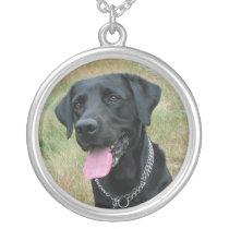 Labrador Retriever dog black necklace, gift idea Silver Plated Necklace