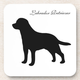 Labrador Retriever dog black silhouette coaster