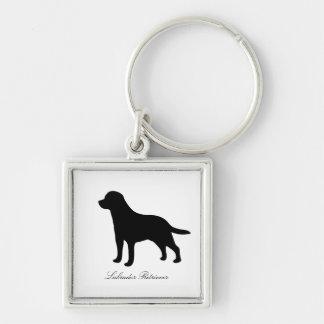 Labrador Retriever dog black silhouette keychain