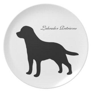 Labrador Retriever dog black silhouette plate