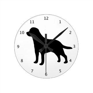 Labrador Retriever dog black silhouette Round Clock
