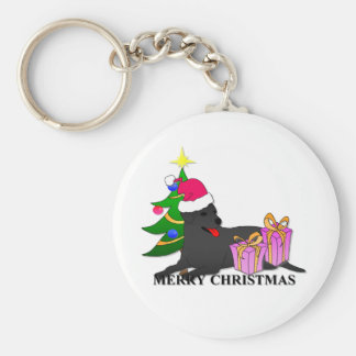 Labrador Retriever Dog Christmas Basic Round Button Keychain