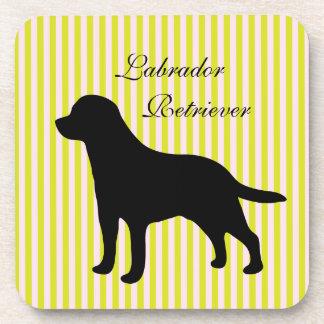 Labrador Retriever dog green  pink stripes coaster