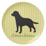 Labrador Retriever dog green & pink stripes plate
