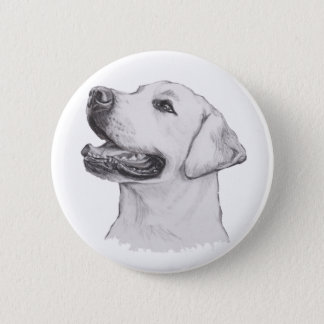 Labrador Retriever Dog Portrait Drawing Pinback Button