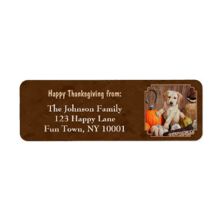 Labrador Retriever Dog & Pumpkins Brown Label