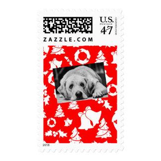 Labrador Retriever Dog Red Merry Christmas Tree Postage