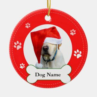 Labrador Retriever Dog Red with Paws and bone Ceramic Ornament