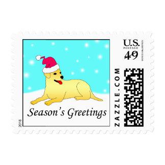 Labrador Retriever Dog Santa Postage Stamp