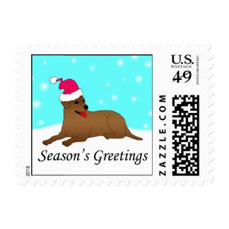 Labrador Retriever Dog Santa Stamps