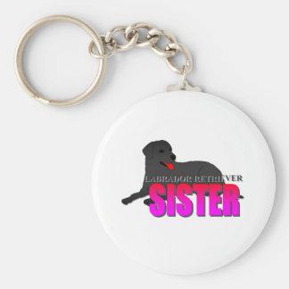 Labrador Retriever Dog Sister Basic Round Button Keychain