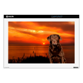 Labrador Retriever Dog Sitting beside Sunset Laptop Skins