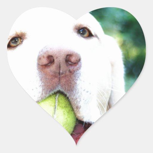 Labrador Retriever Dog Tennis Ball Heart Sticker
