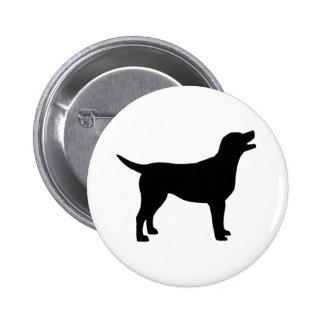 Labrador retriever (en negro) pin redondo de 2 pulgadas