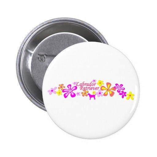Labrador Retriever Flowers Button