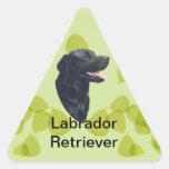Labrador Retriever ~ Green Leaves Design Triangle Stickers