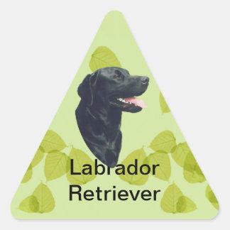 Labrador Retriever ~ Green Leaves Design Triangle Sticker