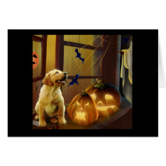 Labrador Retriever Halloween Puppy Card at Zazzle
