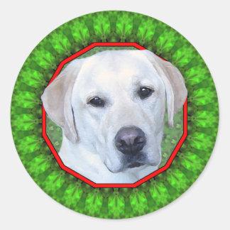 Labrador Retriever Happy Howliday Classic Round Sticker