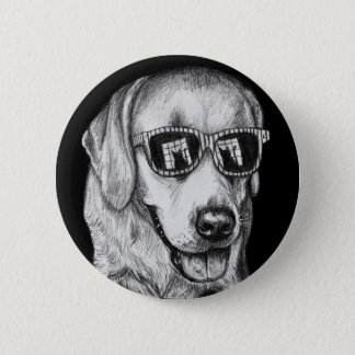 Labrador Retriever in Shades with Cat Reflection Button