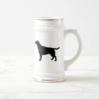 Labrador Retriever in Vest in Silhouette Beer Stein