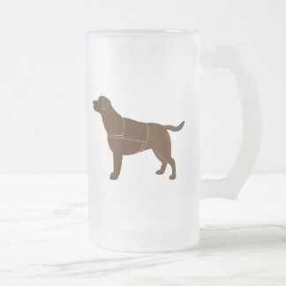 Labrador Retriever in Vest in Silhouette Frosted Glass Beer Mug