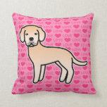 Labrador Retriever Light Yellow Love Hearts Throw Pillow