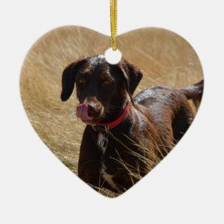 Labrador retriever marrón adorno de cerámica en forma de corazón