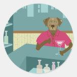 Labrador retriever Martini del chocolate Etiqueta Redonda