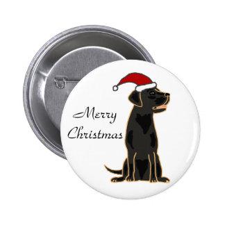 Labrador retriever negro en el gorra de Santa Pin Redondo De 2 Pulgadas