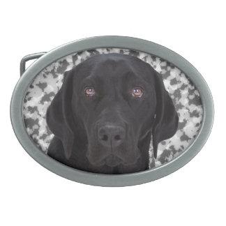 Labrador retriever negro hebilla de cinturon oval