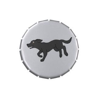 Labrador retriever negro latas de caramelos